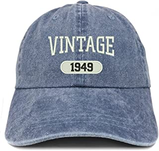 Trendy Apparel Shop Vintage 1949 Embroidered 70th Birthday Soft Crown Washed Cotton Cap