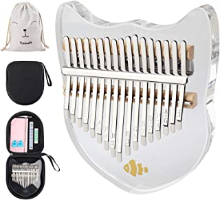 ORANDESIGNE Kalimba Thumb Pianos 17 Keys Note Carved Starter Finger Piano, Portable Transparent Acrylic With Carry Bag, Tu...