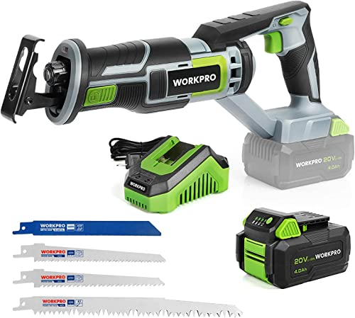 new arrival WORKPRO Cordless Reciprocating Saw, 20V 4.0Ah Battery, 1-inch 2021 Stroke Length, 4 Saw Blades sale for Wood & Metal Cutting Included outlet sale