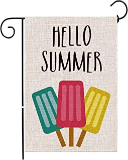 Hello Summer Popsicle Welcome Garden Flag Double Sided, Spring Summer Watercolor Ice Lolly Pattern Yard Farmhouse Outdoor ...