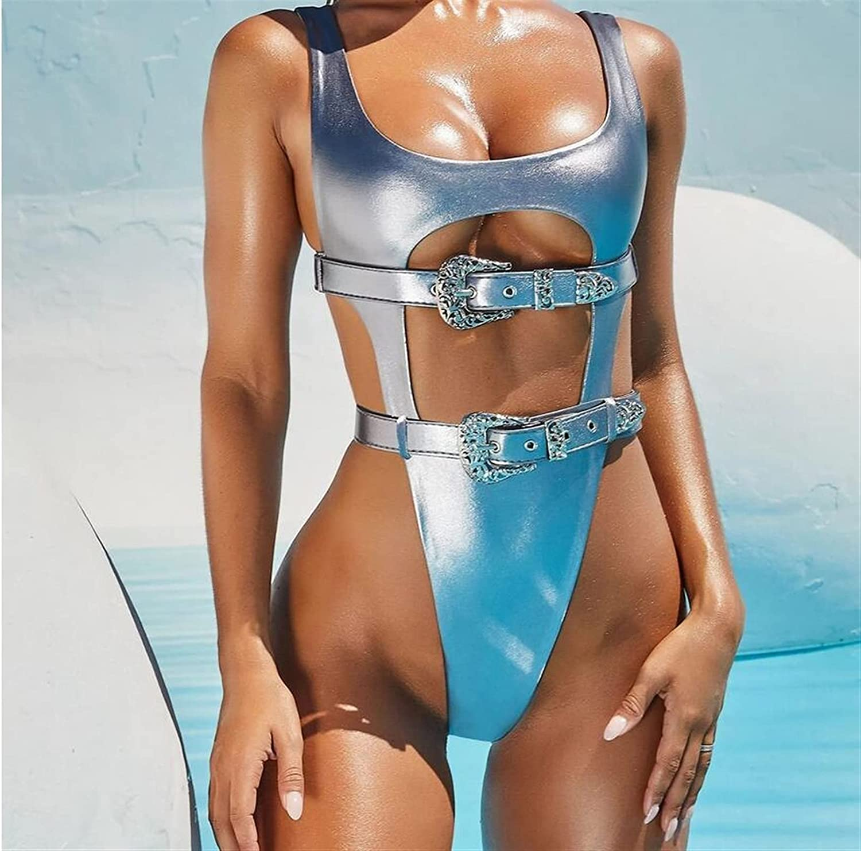 Alibama All items free shipping Sexy PU Leather Gold Bikini High cheap Buckl Women Cut Push Up