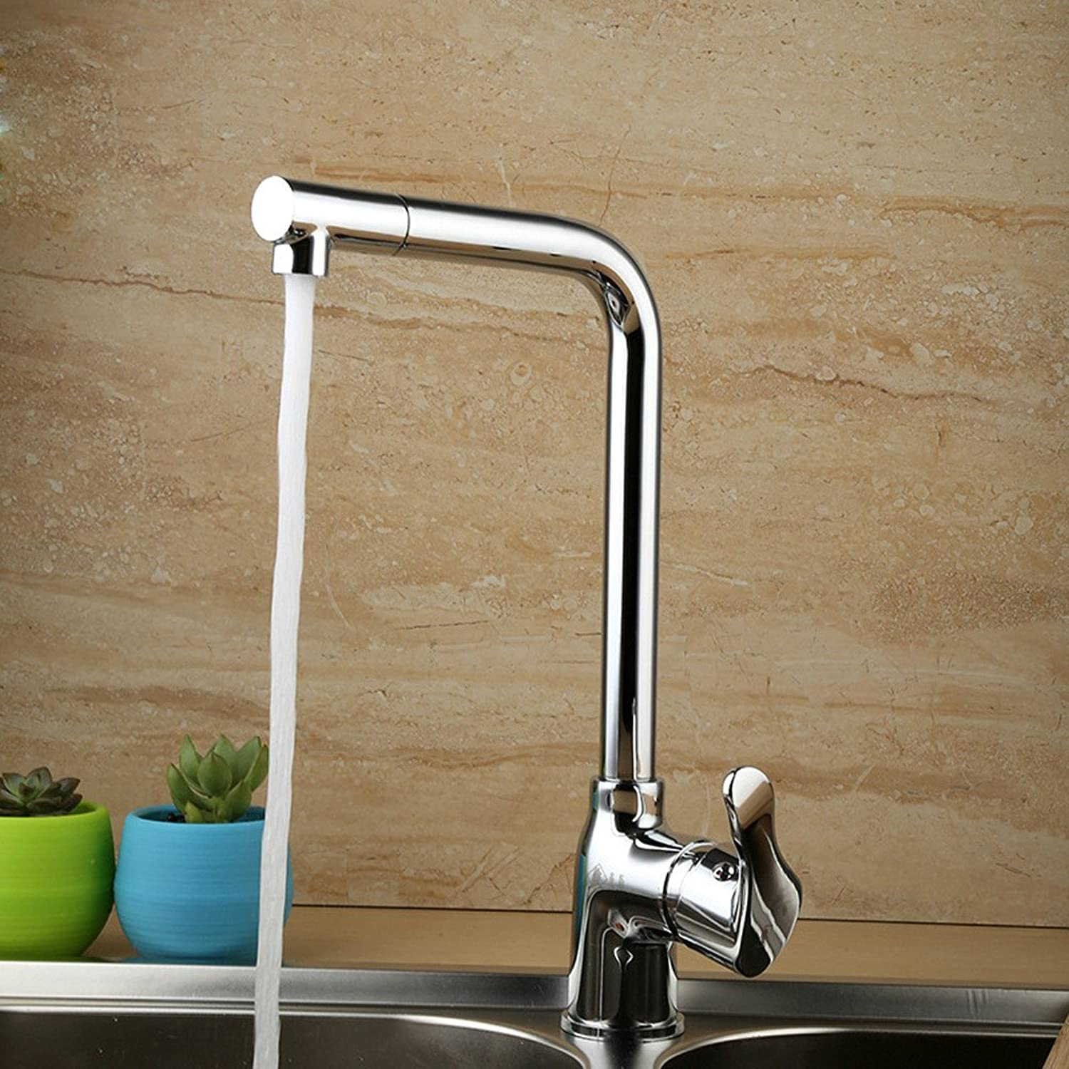 Commercial Single Lever Pull Down Kitchen Sink Faucet Brass Constructed Fine Copper Kitchen Hot and Cold Mixing Faucet redating Kitchen Dish Basin Faucet Water-Saving Corrosion-Resistant Faucet