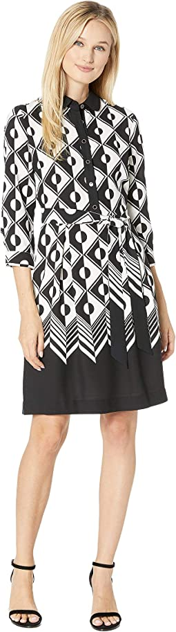 Printed Color Block CDC Shirtdress with Sash
