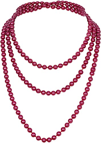 """Vijiv 66"""" 8mm Glass Pearl 1920s Flapper Necklace Great Gatsby Accessories 6 Colors"""