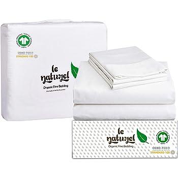 Organic Cotton Bed Sheets Queen - Organic White Sheets - 300 Thread Count Organic Cotton - Organic Cotton Sateen Sheets - Deep Pocket Organic Cotton Sheets - GOTS Certified Sheets