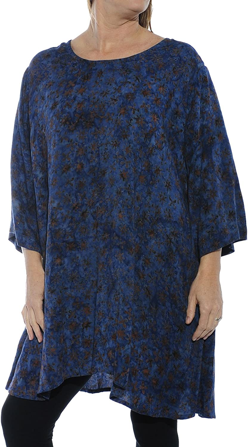 We Be Bop Womens Batik Plus Size Flower Stars Swing Top