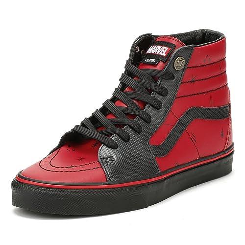af072d9f439f17 Vans SK8-Hi Marvel Deadpool Red Black Leather Skateboarding Shoes