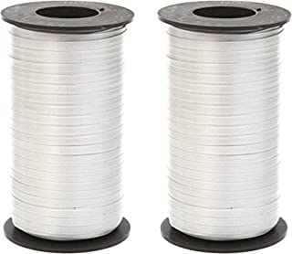 Set of 2 Berwick 1 20 Splendorette Crimped Curling Ribbon, 3/16-Inch Wide by 500-Yard Spool, Silver