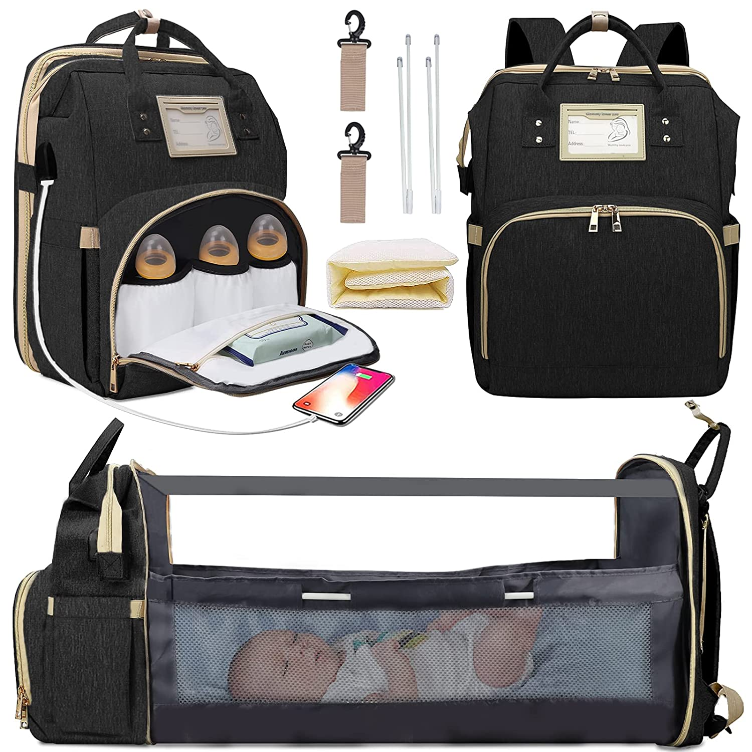 3 in 1 Diaper Bag Backpack Changing Station Bags, YOMOLE Portable Travel Baby Boy Girl Bed Back Pack with USB Charge Foldable, Dad Mom Baby Stuffs Organize Waterproof Bag Large Capacity