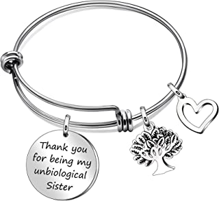 JQFEN Sister Bracelets Thank You for Being My Unbiological Sister Life Tree Heart Charms Frienship Bracelet Bangle Sister Friends Gift