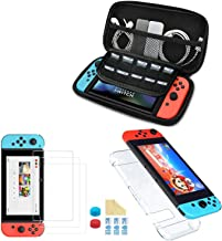 Nadole 5 in 1 Nintendo Switch accessory kit with Nintendo Switch Case, Joy Con Transparent Housing, 3 Screen Protector, Thumb Grips, Cleaning Cloth