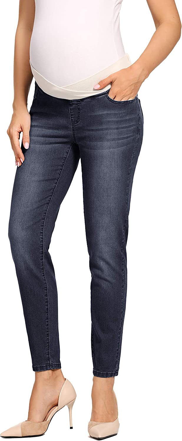 Foucome Womens Maternity Jeans Underbelly Skinny Jeggings Cute Distressed Jeans Comfy Stretch Pants