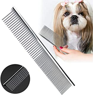 HEYUS [2 Pack] Pet Grooming Comb, Stainless Steel Pet Grooming Massaging Kit Dog Comb Steel Comb Pin Comb Dog Shedding Com...