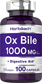 Horbaach Ox Bile 1000 mg 100 Capsules | Non-GMO & Gluten Free | Digestive Enzymes Supplement, Purified Bile Salts for Gall...