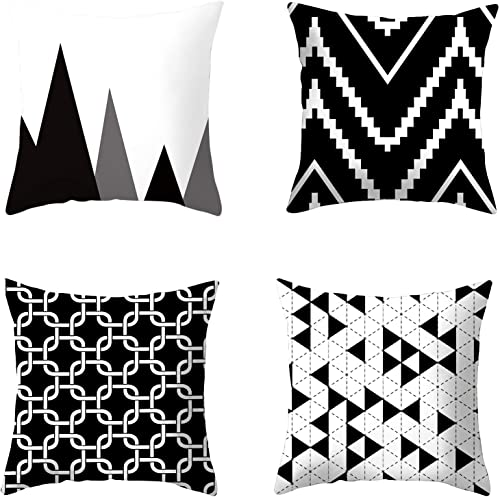 high quality BENBOR Black and White Throw Pillow Cover Set lowest of 4, Geometry Black high quality Stripe Pillow Cover 18x18 Inch 100% Cotton and Faux Leather Modern Pillows Cushion Case for Bedroom Sofa Office Outdoor Decor outlet online sale
