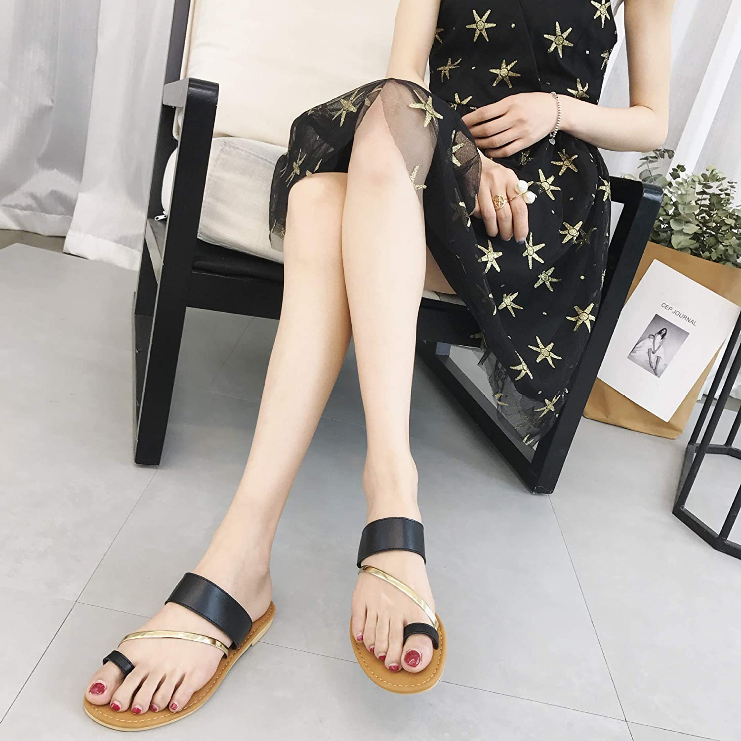 DNJKSA Sandals, Flatbed and Pinched Feet for Women and Korean Version in 2019, Fashionable Outwear, Comfortable Flat Heel