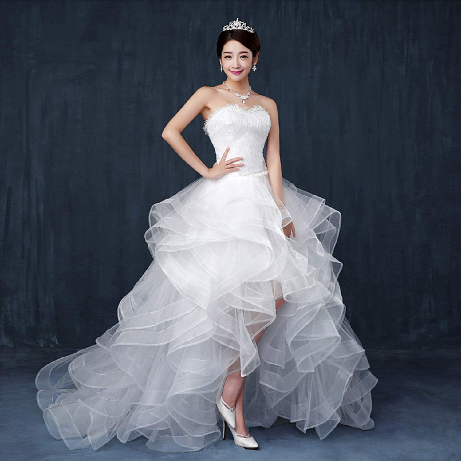 Elegant Simple Wedding Dresses for Bride,White Irregular Backless Long Tailing Dresses Ideal for Ladies Girls Ceremony Evening Party Ball Gowns Use