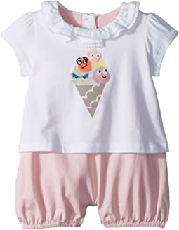 Fendi Kids Romper w/ Collar & Ice Cream Graphic (Infant)
