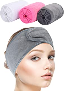 Sinland Spa Headband for Women 3 Counts Adjustable Makeup Hair Band with Magic Tape,Head Wrap for Face Care,Mask, Makeup and Sports