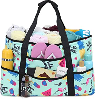 Beach Bag, BTOOP Extra Large Beach Totes with Zipper Flamingo Pool Bag for Women Oversized Travel Tote Bag with Pockets