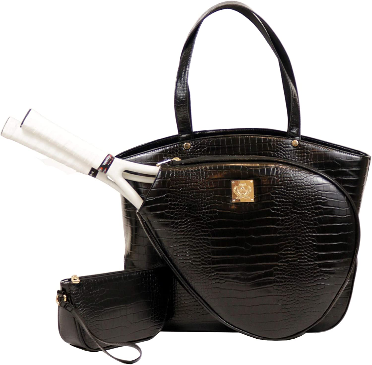 Court Couture Max 68% OFF Cassanova Crocodile Embossed Bag High quality new Noir Tennis