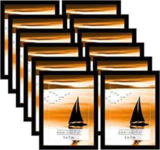 Americanflat Frames with Glass Fronts, 12 Pack-5x7, Black