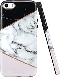 JAHOLAN iPhone 5 Case, iPhone 5S Case Geometric Marble Design Black Bumper Slim TPU Soft Rubber Silicone Cover Phone Case for iPhone 5 5S SE - Pink Black