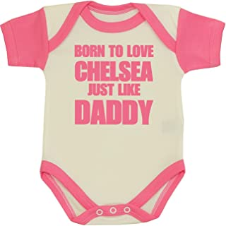 "Babyprem Baby Body Strampler ""Born to Love Chelsea Like Daddy"" Kleidung 50-80cm"