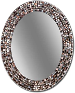 Head West Frameless Copper Oval Mosaic, 23 inches by 29 inches Wall Mirror