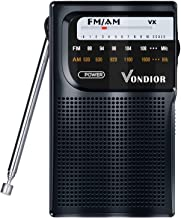 AM FM Radio Portable – Best Reception Transistor Radio/Longest Lasting Battery Operated Radio (2AA) / FM AM Pocket Radio. Mono Headphone Socket, by Vondior (Black)