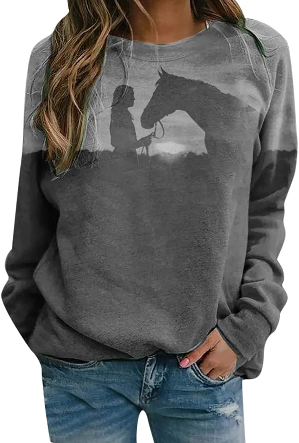 ONHUON T-Shirts for Women,Womens Casual Round Neck Long Sleeve Fit Tunic Fashion Print Top Baggy Comfy Blouse