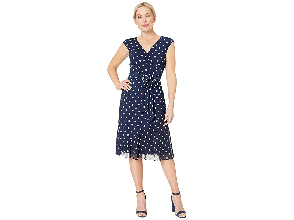 LAUREN Ralph Lauren Petite B920 Driver Dot Matte Jersey Jori Cap Sleeve Day Dress (Lighthouse Navy/Colonial Cream) Women