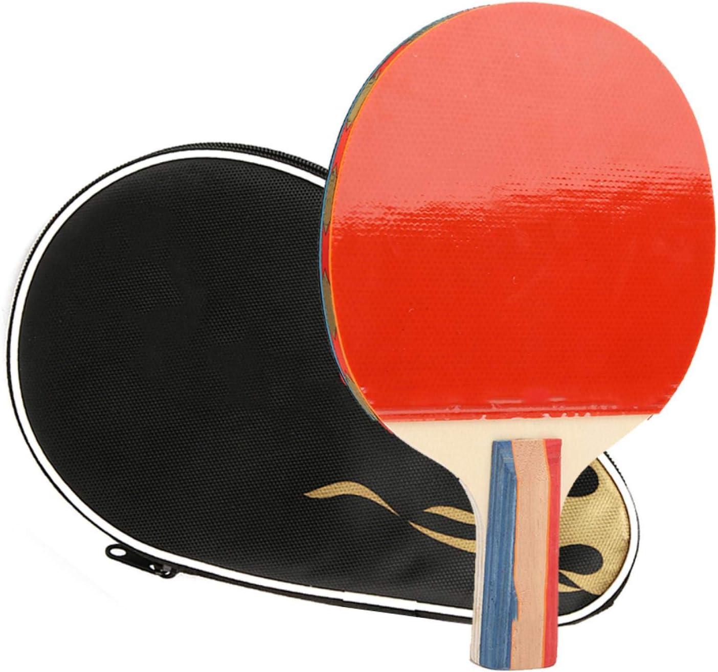 Regalo de Julio con Capa de Esponja Suave Tabla de Madera de Siete Capas Fácil de Transportar y almacenar Bate de Tenis de Mesa de Madera, Paleta de Tenis de Mesa, para Adultos y niños Juegos de In