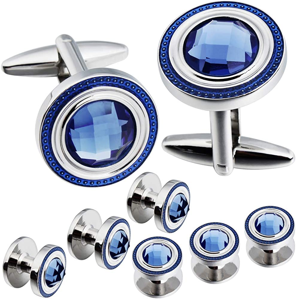 HAWSON Cufflinks for Men with Tuxedo Shirt Studs, Cuff Links and Tuxedo Shirt Studs Gift Sets for Wedding and Party.