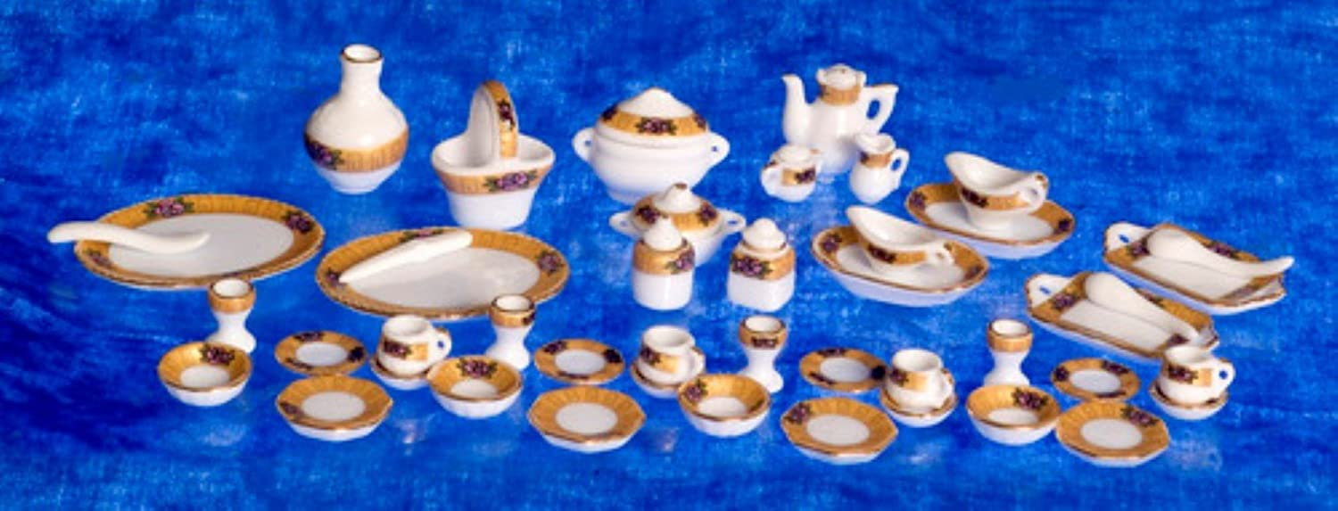 Dollhouse Miniature Complete Gold Floral Table Setting
