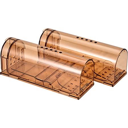 Authenzo Humane Smart No Kill Mouse Trap Catch and Release, Safe for People and Pet-2, Brown