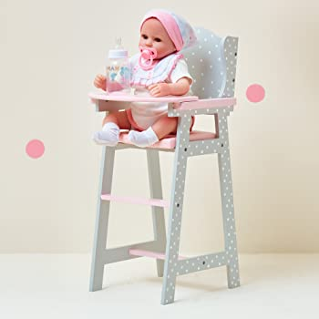 Olivia's Little World - Polka Dots Princess Baby Doll High Chair , Feeding Highchair Toddler Wooden Doll Play Furniture - Gray , fits 16 inch Baby Doll