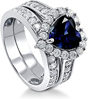 BERRICLE Rhodium Plated Sterling Silver Simulated Blue Sapphire Heart Shaped Cubic Zirconia CZ Statement Halo Engagement Wedding Ring Set 2.82 CTW