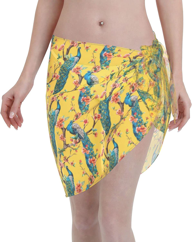 FSERSANHW Peacock Chiffon Beach Manufacturer OFFicial shop Sarong Cover Women Max 57% OFF Short Ups Bea