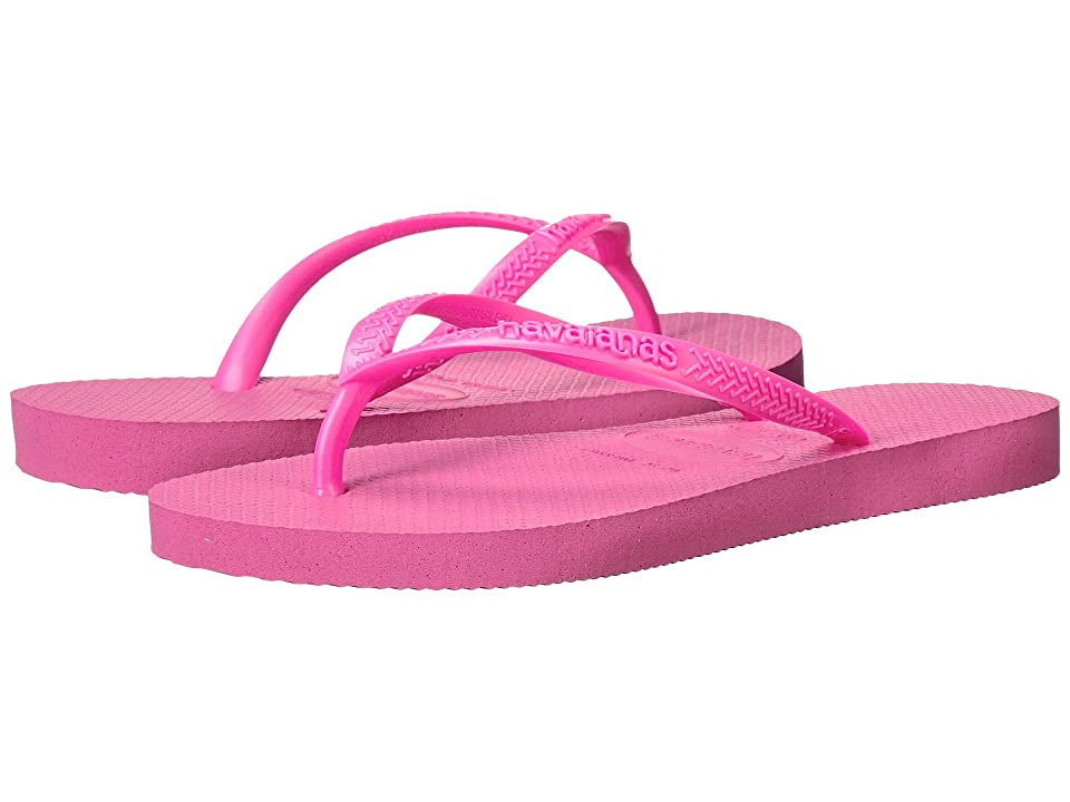 Havaianas Kids Slim Flip Flops (Toddler/Little Kid/Big Kid) (Shocking Pink) Girls Shoes