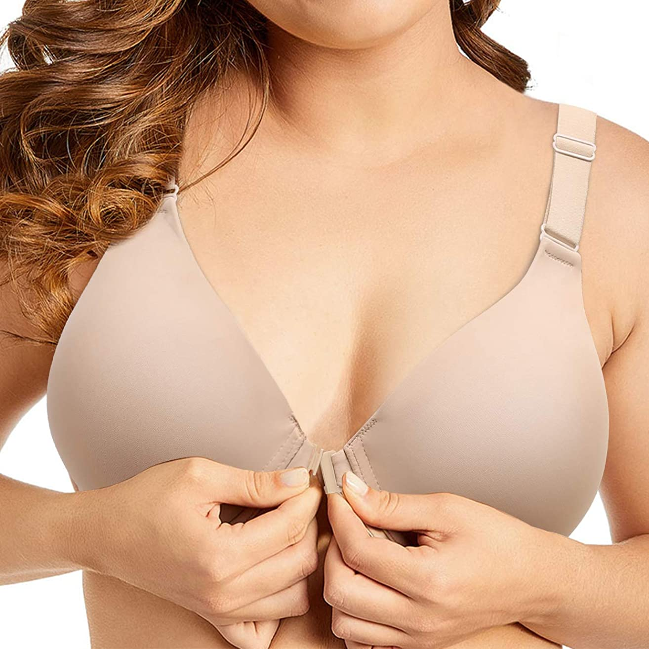 Bras for Women Front Closure Plus Size Underwire Full Coverage Support Everyday Bra for Women 38D-46DDD Cup
