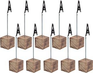 Cosmos® 10 Pcs Lightweight Cube Base Memo Clips Holder with Alligator Clip Clasp for Displaying Number Cards (Wooden Base)