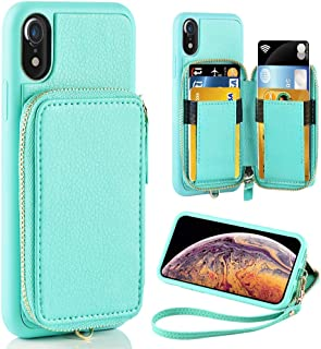 ZVE iPhone XR Case iPhone XR Wallet Case with Credit Card Holder Slot Shockproof Protective Leather Wallet Zipper Pocket Purse Handbag Wrist Strap Case for Apple iPhone XR 6.1