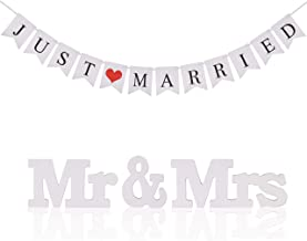 Just Married Wedding Banner KAKOO Bunting Banners Pennant Vintage Hanging Garland Decoration with Mr Mrs Signs Letters for Reception Bridal Shower and Engagement Photo Garden Outdoor