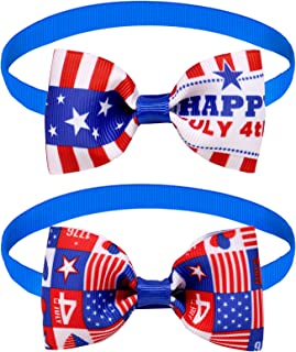 Independence Day Bow Ties Collar Patriotic Cat Dog Small Pet Costume Supplies Ties, 2 Packs