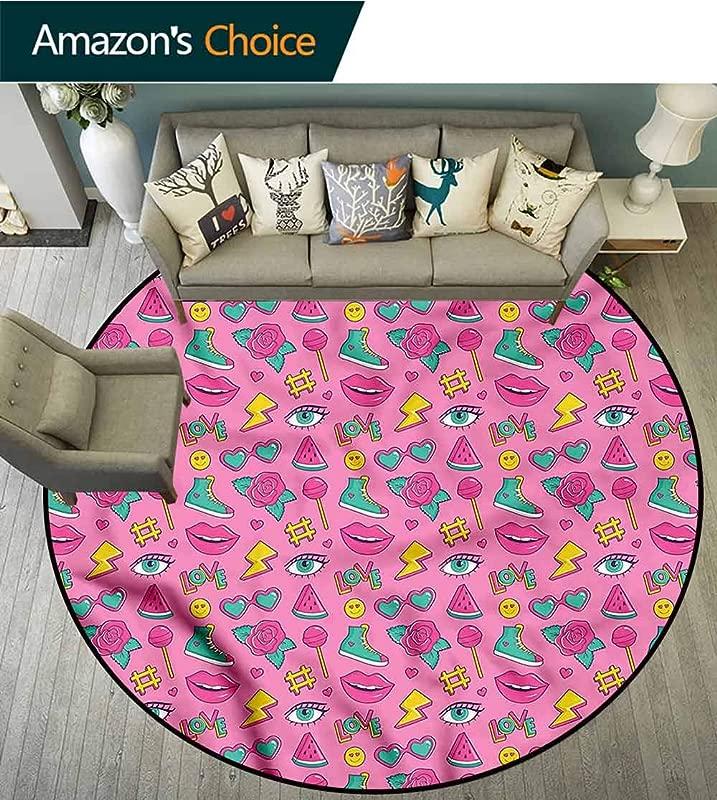 RUGSMAT Emoji Print Area Rug Retro Comics On Pink Foam Mat Bedroom Decor Diameter 24