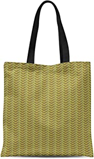 Semtomn Cotton Canvas Tote Bag Yellow Zig Zag Pattern Gold Luxury Herringbone Like Chane Reusable Shoulder Grocery Shopping Bags Handbag Printed