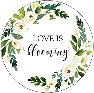 Love is Blooming Stickers, White and Green Flowers, Watercolor, Let Love Grow Favor Stickers, Labels, Seed Favors, Love Grow, Favor Stickers, Favor Tags, Garden Wedding Favor Stickers