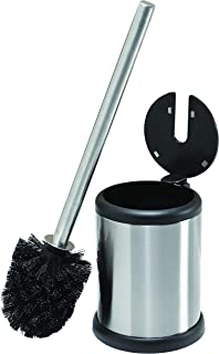 Bath Bliss Toilet Bowl Brush and Holder with Self Closing Lid, Space Saver, Deep Cleaning, Finger Print Proof Finish, Hygienic, 4.5