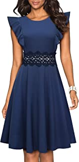 VELJIE Women's Vintage Ruffle Flared A Line Swing Casual Cocktail Party Dresses